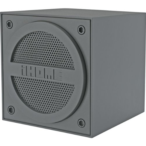 Brand New Ihome Gray Ibt16 Bluetooth Rechargeable Mini Speaker Cube With Rubberized Finish