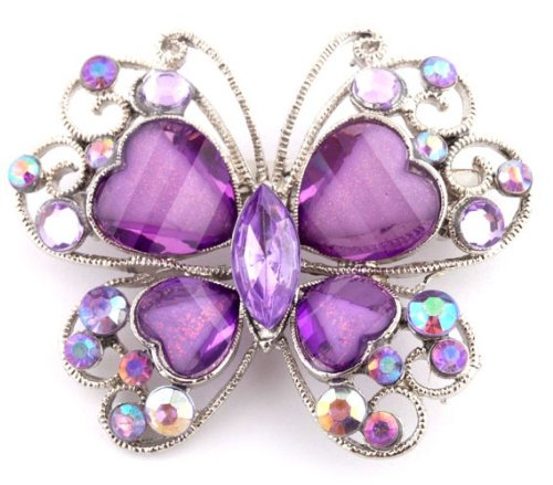 2 Pieces of Ladies Purple and Silver Butterfly