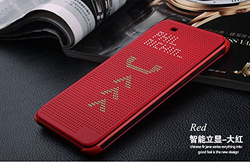 Defender Premium Best DOT VIEW Bumper Touch Flip Case Cover with Sensor For HTC Desire 820 / 820Q - RED
