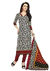 RK Fashion Womens Cotton Un-Stitched Salwar Suit Dupatta Material ( Rajguru-Ganpati-5011-Black-Free Size )