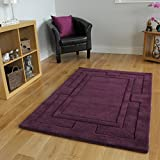 Cheap Purple Dense Pile Plain Border Design 100% Wool Rug 4 Sizes Available Elements