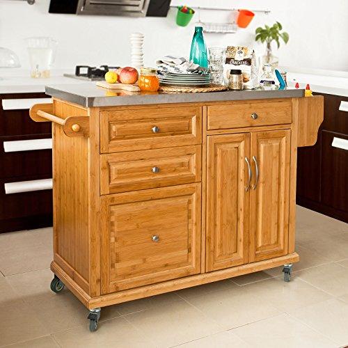 Sobuy carrello di servizio scaffale da cucina buttler mobili cucina bamb acciaio piano - Scaffale cucina ...