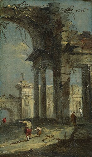 Oil Painting 'Francesco Guardi Caprice View With Ruins (1) ' Printing On Polyster Canvas , 24 X 41 Inch / 61 X 103 Cm ,the Best Gift For Girl Friend And Boy Friend And Home Decoration And Gifts Is This Amazing Art Decorative Prints On Canvas