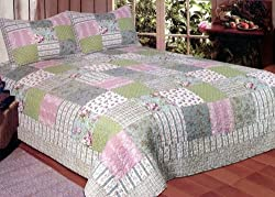 American Hometex Country Flowers Quilt Set Queen