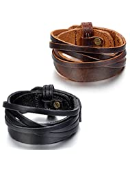 JewelryWe 2pcs Mens Leather Bracelets, Wide Cuff Bangles, Fit 9.7 inch Adjustable, Black Brown (with Gift Bag)