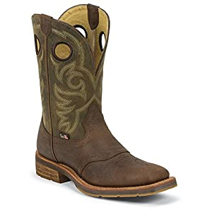 Justin Boots 1827 Men's 11-in Barnwood Wellington Boot Oiled Hunter Green 7 D US