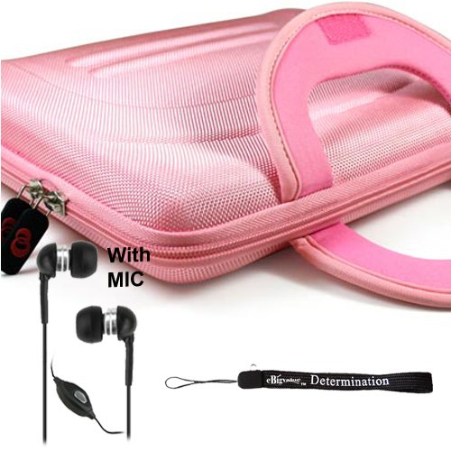 eBigValue: Pink Protective Hard Nylon Carrying Case for Sony DVP-FX970 9-Inch Portable DVD Player + Includes a eBigValue Determination Hand Strap Key Chain + Includes a Crystal Clear High Quality HD Noise Filter Earbuds Earphones Handsfree 3.5mm Jack with Mic and Mute Button