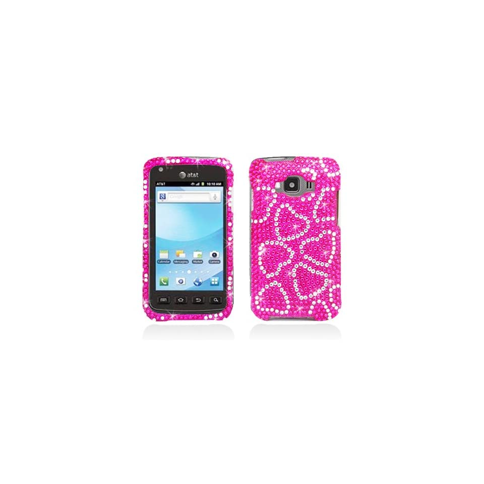 Full Diamond Bling Hard Shell Case for Samsung i847 Rugby Smart [AT&T] (Hearts   Pink)
