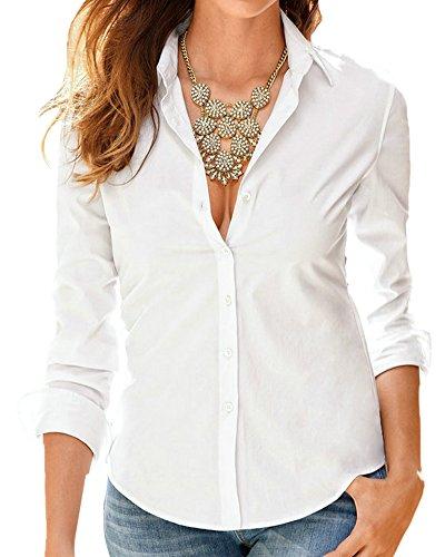 SaiDeng Donna Monopetto Colore Puro Manica Lunga Slim Fit Camicia Bianco S