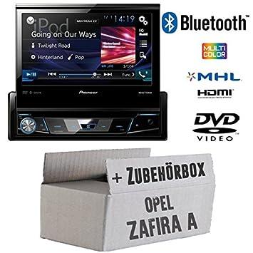 Opel Zafira A - Pioneer AVH-X7800BT - 1-DIN 7-Zoll USB Bluetooth DVD - Autoradio - Einbauset
