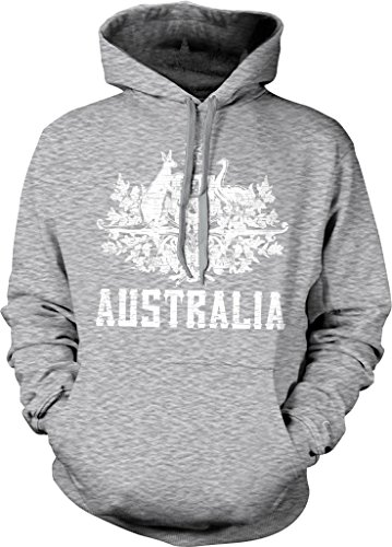 Australia, Coat of Arms, New South Wales, Victoria, Queensland Hooded Sweatshirt, NOFO Clothing Co. XL LtGray (Australian Clothes compare prices)