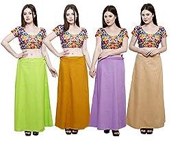 Pistaa combo of Women's Cotton Parrot Green, Mustard, Levender and Skin Color Best Indian Comfort Inskirt Saree petticoats