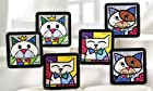 New Romero Britto Coasters Cat Set of 6 Drink Holder Beer Wine Drink Gift Save !