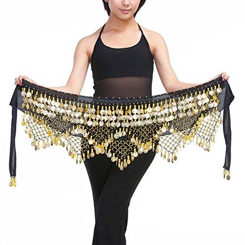 Belly Dance Costume Velvet Hip Scarf Belt Wrap 320 Gold Metal Coins Handmade (Black)