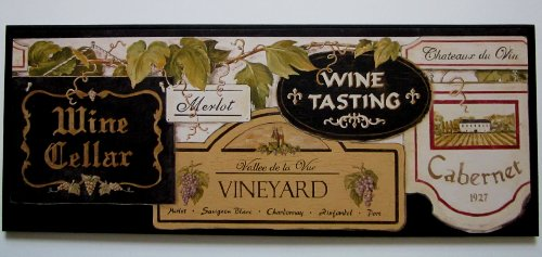 Wine Cellar Kitchen Wall Decor Plaque, Wine Tasting, Black, Big Sign (Wine Tasting Sign compare prices)