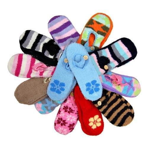 Cheap Assorted 12 Pack Mary Jane Non Skid Slipper Socks (8139-1 FuzzSlip 3)