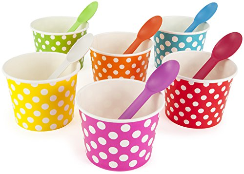 Rainbow Paper Polka Dot Ice Cream Cups 12 oz (qty 60) & Matching Plastic Spoons (qty 60) Set (by BrightandBold) (Paper Ice Cream Cups 12 Oz compare prices)