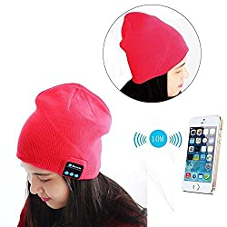 Cap Shape Beanie Hat Wireless Bluetooth Headset-Red