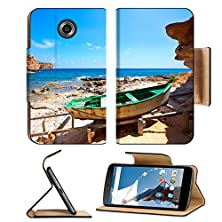 buy Msd Motorola Google Nexus 6 Flip Pu Leather Wallet Case Formentera Cala En Baster In Balearic Islands Of Spain With Vintage Boat Image 23998148
