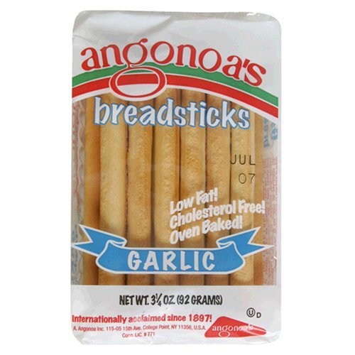 Angonoa's Breadsticks, Garlic, 3.25-Ounce Bags (Pack of 6)