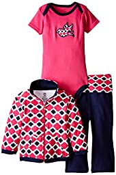 Yoga Sprout Baby-Girls 3 Piece Bird Track Jacket Bodysuit Pant Set, Girl Bird, 6-9 Months