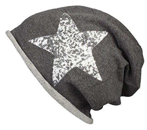 Berretto Jersey lungo Beanie con glitter per le donne e gli uomini in grigio antracite