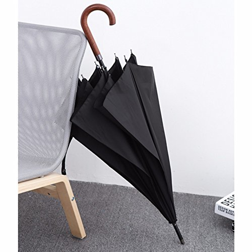 BBSLT Solid wood vintage creative auto business umbrella Japan men super long umbrella girls and boys twin wind,Black