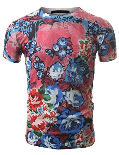 J.Tomson Mens Short Sleeve Floral Print T-Shirt Pink Medium