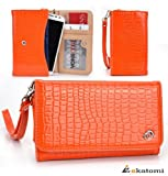 ORANGE CROC [Diva Series] | Motorola Photon Q 4G LTE XT897 Mobile Phone Case with Cash & Cards Holder Wrist-let Women's Wallet