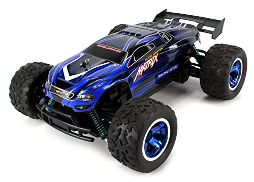 Velocity Toys S-Track Matrix Battery Operated RC Truggy BIG 1:12 Scale Size, Off Road Racing, High Performance, 4 Wheel Suspension (Colors May Vary) High Performance Arms