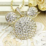 Mickey Logo Crystal USB Flash Drive with Necklace:8GB(Golden)
