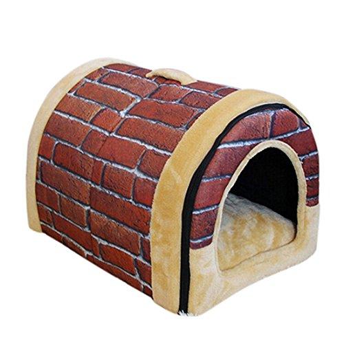 beautylife77-Warm-Pet-Hundehtte-Puppy-House-Plsch-Hund-KatzeKitty-Bett-Pet-Innen-Haus-Plsch-Brick-Red-L