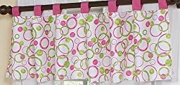 Circles Pink and Green Modern Window Valance by Sweet Jojo Designs