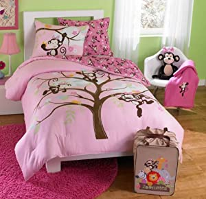 Pink Monkeys Twin Comforter Set (4 Piece Bedding)