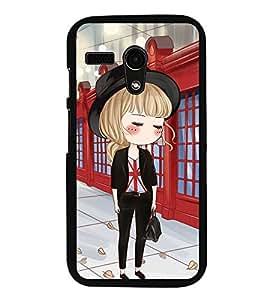Fuson Premium 2D Back Case Cover Cute office Girl With Black Background Degined For Motoroal Moto G Turbo Edition