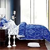 Dexim (4 Pieces) Exclusive Bedding Set with Reversible Duvet Cover Blue/White