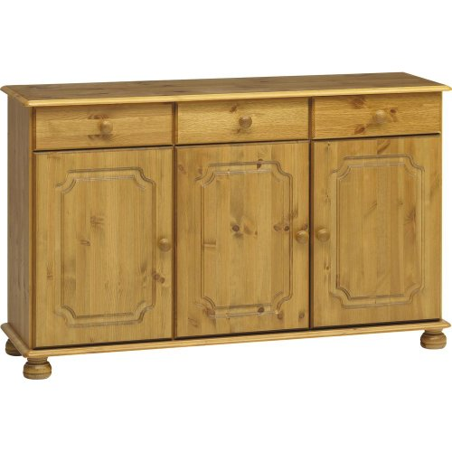 HOUSTON - Solid Wood 3 Drawer 3 Cupboard Sideboard - Antique Pine