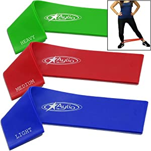 Aylio 3 Loop Fitness Bands for Stretch Exercise Set (Light, Medium, Heavy Resistance)