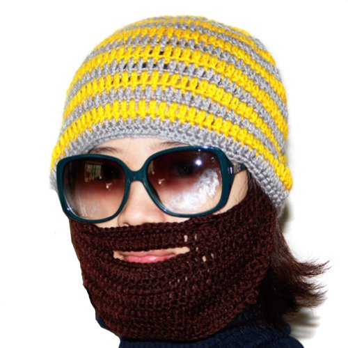LOCOMO Stripe Big Beard Moustache Knit Beanie Hat Cap Wind Ski Mask FFH136RED