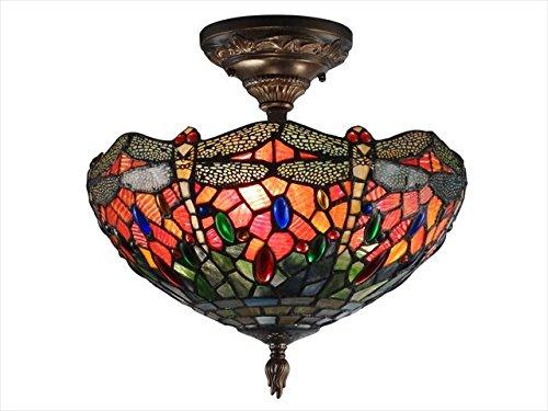 Dale Tiffany Th12235 Sonota Semi Flush Mount Light Fixture, Dark Antique Brass