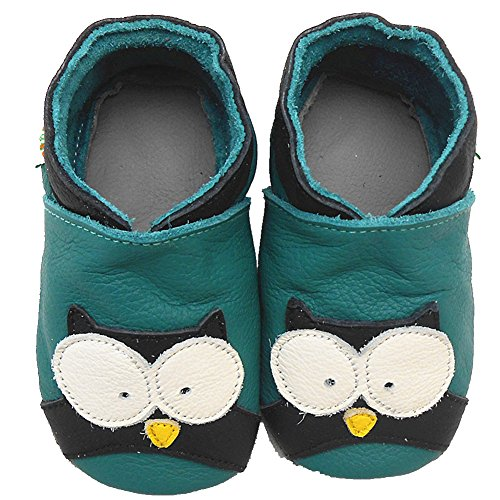 Sayoyo Baby Owl Soft Sole Leather Infant Toddler Prewalker Shoes (0-6 months, Green) - 1