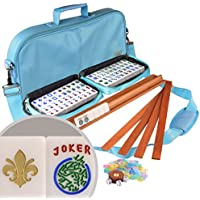 "American Mahjong Set Leatherette Case ""Fleur De Lis"" W/ All In One Rack/Pushers"