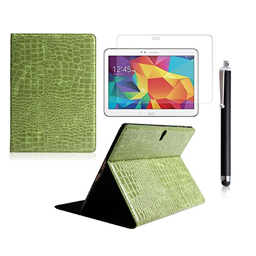 Boriyuan Stylish Ultra Slim Lightweight Portable Protective Flip Folio Pu Leather Carrying Case Cover With Viewing Stand Holder Feature For New 2014 Samsung Galaxy Tab S 10.5 Inch T800 T805 Tablet With A Free Stylus Touch Screen Pen (Crocodile Pattern Gre