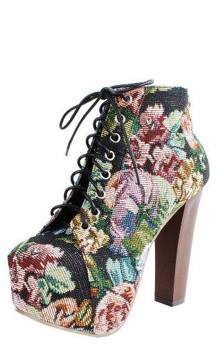Floral Fabric Wooden Heel Booties BLACK