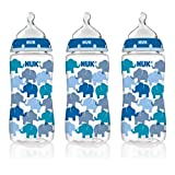 NUK Elephants 10-Ounce Orthodontic Bottle, 3 Count with Advanced Orthodontic Star Replacement Nipple, 2 Count