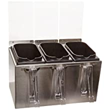 "San Jamar B8143IL EZ-Chill Stainless Steel Condiment Server with Tongs, 14-5/8"" Width x 9"" Height x 8-1/2"" Depth"