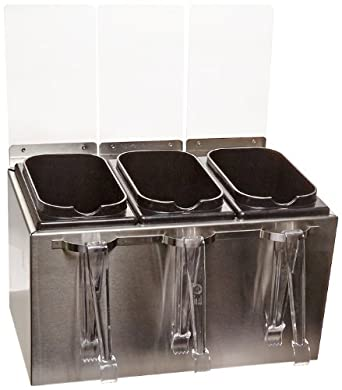 """San Jamar B8143IL EZ-Chill Stainless Steel Condiment Server with Tongs, 14-5/8"""" Width x 9"""" Height x 8-1/2"""" Depth"""