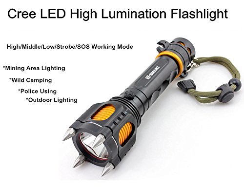 10W 1000LM CREE LED Flashlight Torch Adjustable Working Mode with SOS/Cutting Knife/Steel Attack for Body Safety Widely Used in Hiking,Camping,Biking