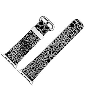 Iwatch Bands 42mm,Apple Watch Band Genuine Prime Elegant Leather Replacement For iWatch With Silver Metal Adapter - Dark Leopard Print Pattern