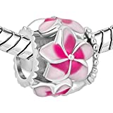 New Sale Cheap Jewelry Filigree Pink Flower Love Enamel Charm Beads Fit Pandora Charms Bracelet Gift